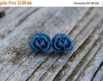 SALE REDUCED Ruffled Rosebud Stud Earrings - Navy Blue