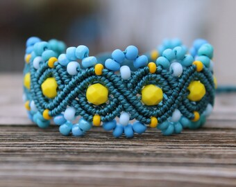 REDUCED Micro-Macrame Beaded Bracelet - Yellow and Teal