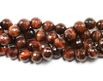 Red Tiger Eye Faceted Gemstone Beads