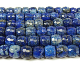 Natural Lapis Faceted Drum Gemstone Beads