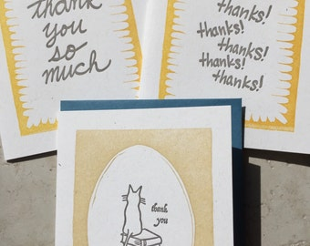 Three letterpress thank you cards
