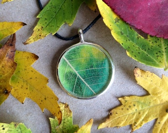 Leaf necklace, autumn leaf pendant, green yellow leaf