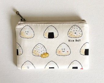 mini zipper pouch  -Rice ball