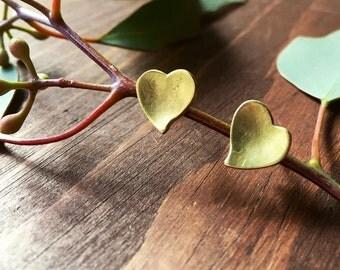 Heart Stud Earrings - Brass w/ Sterling Silver Post - Handmade