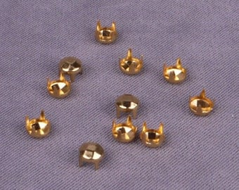 Gold Round Pyramid Studs - 5mm - 250 Pieces (MS5GORPD-250)