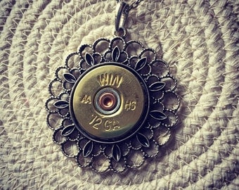 Lacy Filigree Antique Silver 12 Gauge Pendant, Filigree Bullet Necklace, Dainty Bullet Necklace, Bullet Jewelry for Women, Valentine's Day