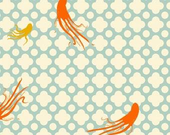 Mendocino Light Blue Large Octopus Heather Ross cotton quilt fabric - fat quarter, mendocino fabric, heather ross fabric, octopi