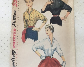 1954 Simplicity Simple to Make Blouse Pattern No. 4815
