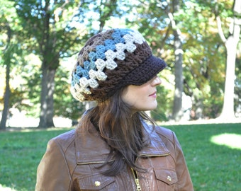 Retro Style Granny Square Crochet Hat with Brim- Brown, Blue and Taupe Women's Hat - Newsboy Hat