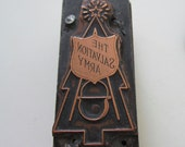 Vintage Letterpress Printers Block Salvation Army Emblem Kettle and Chistmas Tree