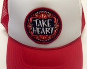 Youth Red Trucker Hat-with Take Heart Patch-Kids trucke...