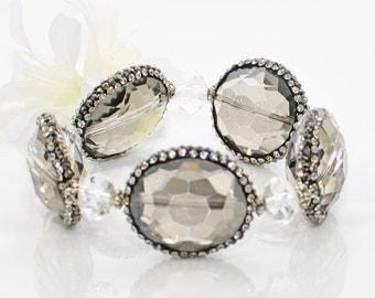 Gray Bracelet Cuff Hi Ho Silver - Crystal Stretch Bracelet - Grey Crystal Bracelet - Gray Crystal