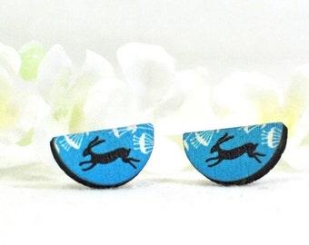 Rabbit Post Earrings Bunny Jewelry Black Rabbit- Bunny Rabbit - Rabbit Earrings - Bunny Earrings