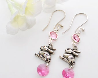 Silver Rabbit Earrings Boop and Bop  - Pink Bunny Earrings - Bunny Rabbit Jewelry - Pet Rabbit - Bunny Jewelry - Woodland Animal - Nature