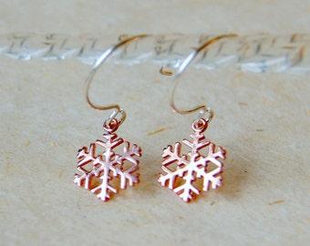 Rose Gold Snowflake Earrings - Snowflake Earrings - Rose Gold and Sterling Silver Earrings - Nature Inspired
