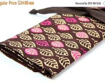 Sale 25% OFF Large Knitting Needle Case - Mod Leaves - brown pockets for circular, straight, dpn, or paint brushes