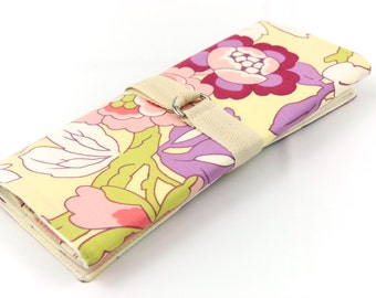 Short Knitting Needle Case - Gypsy Vine - natural cotton pockets for circular, double pointed, interchangeable or travel