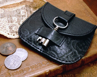Black Leather Coin Purse with Snap and Antique Key Closure - Black Leather Change Purse - Black Leather Coin Pouch with Embossed Roses