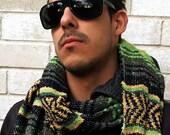 Mexican Blanket Serape Scarf Wrap Scarves Green Black White Poncho