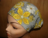 New  Yellow Flower on Grey Euro Style Medical Surgical Scrub Hat Vet Nurse Chemo