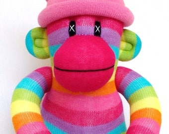Bright Tutti Fruity little striped Sock Monkey with removable pink pom pom hat (made to order).