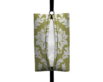 Auto Sneeze - Damask - Visor Tissue Case/Cozy - Car Accessory Automobile - Light Olive Green White Floral