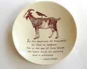 Kahlil Gibran . Quote of Friendship and Laughter. Jewelry Dish . Goat and Crow . Inspirational Quote . Ring Dish