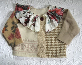 folk cardigan . toddler folk cardigan . toddler cardigan .  made from recycled sweaters  . wool sweater .  toddler folk sweater . BETSY