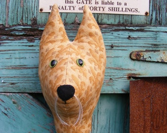 Fabric Trophy head. Cat lady starter kit,  wall hanging. Fake Taxidermy, stuffed head, Faux Taxidermy. Shabby chic.