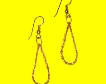Vintage 1980s Gold Chain Loop Dangle Drop Earrings