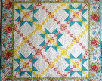 PDF Quilt Pattern, Star Quilt. Daisy Garland, perfect beginner quilt, fast to make with illustrated instructions, Wall Hanging Pattern