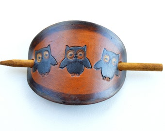 Owl Leather Hair Accessory, Owl Hair Stick