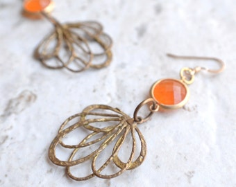 The Maura- Orange Glass and Brass Filigree Earrings