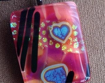 Hearts on fused glass valentine pendant