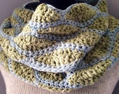 Celery Green and Pale Blue Infinity Scarf, Endless Loop Scarf, Chunky Cowl,