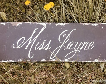 Hand Painted Name Sign | Custom Sign |  Vintage Home Decor | Gifts for Teens | Teachers Gift | Distressed Black