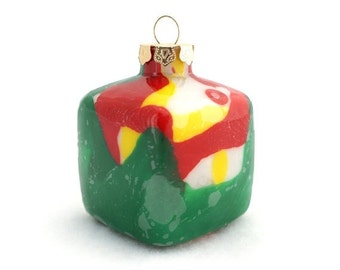 SALE Recycled Crayon Inside Glass Cube Ornament Decor - Christmas Colors - Green Red Yellow