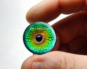 Glass Eyes - Green Chameleon Glass Eyes Glass Taxidermy Eyeball Cabochons - Pair or Single - You Choose Size
