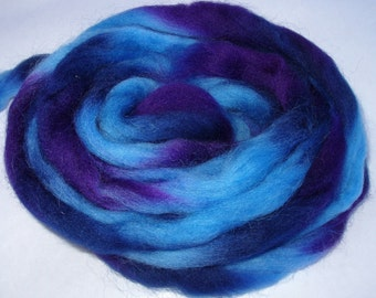 Wool roving, spinning fiber, felting wool, needle felting wool, wet felting, spinning wool, wool dreads, blue, purple,3.5oz, 100g, 100% wool
