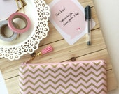 Gold chevron - pink tassel pencil case, planner pouch, pencil bag