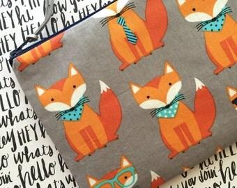 Fox print pouch, oversize zipper pouch , makeup bag , cosmetics bag , fox print clutch