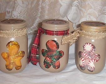 Gingerbread Mason Candy Jars Set of 3 With Candy Great Christmas Gift Decoration
