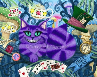 Cheshire Cat Art Alice in Wonderland Purple Cheshire Cat Fantasy Cat Art Big Eye ACEO / ATC Mini Print Cat Lover Gift