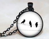 Birds on Wires Pendant, Necklace or Key Chain - Choice of 4 Bezel Colors - Black & White