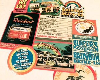 10pcs RETRO DINER STICKERS 1960s Rainbow Drive-In Hawaii