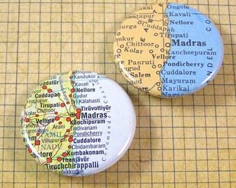 Madras Map Pinback Button Set