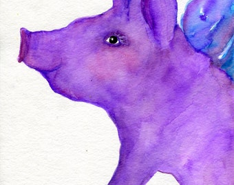 Purple Flying Pig original watercolor painting  Flying pig art, 8 x 10  when pigs fly, whimsical animal art, watercolors painting original