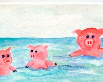 Happy Pigs watercolor painting  original, 4 x 6  piggies swimming in ocean, watercolor painting of pigs,  whimsical Pig Art