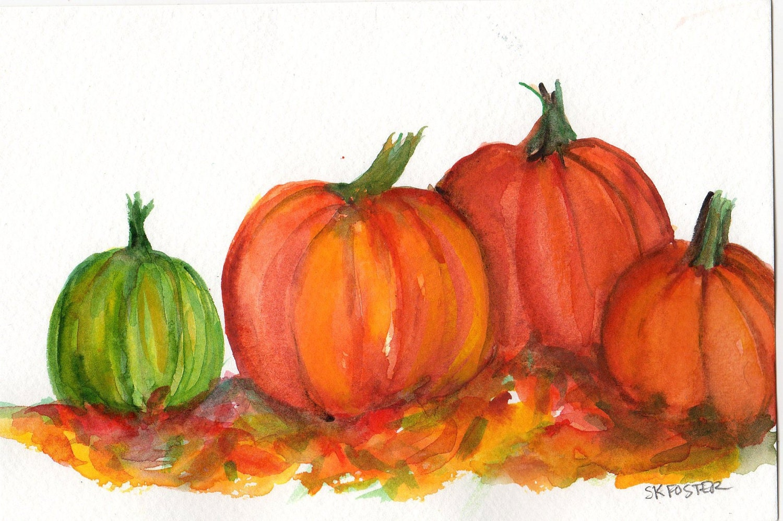 Pumpkins Watercolor Painting Original 5 X 7 Kitchen Wall