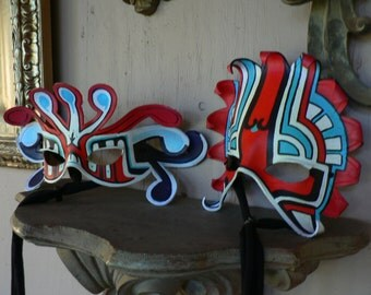 Tribal Couples costume masks,blacklight reactive costume masks, turquoise with red and black handpainted by FreeRolando